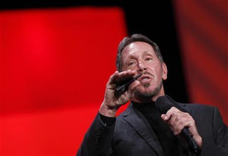 Oracle Chief Executive Larry Ellison delivers his keynote address at Oracle Open World in San Francisco, California September 30, 2012. REUTERS/Robert Galbraith
