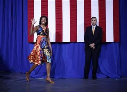 U.S. first lady Michelle Obama arrives to speak at an election campaign rally to re-elect her husband Barack Obama at the University of Mary Washington in Fredericksburg, Virginia, September 13, 2012. REUTERS/Jason Reed