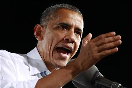 U.S. President Barack Obama speaks during a campaign event at Desert Pines High School in Las Vegas, Nevada, September 30, 2012. REUTERS/Kevin Lamarque