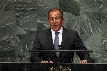Russian Foreign Minister Sergei Lavrov addresses the 67th session of the United Nations General Assembly at U.N. headquarters in New York, September 28, 2012. REUTERS/Keith Bedford