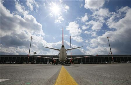 An easyJet Airbus A320 'Willy Brandt' is pictured during its name giving ceremony at the airport terminal of the future Berlin Brandenburg international airport Willy Brandt (BER) in Schoenefeld south of Berlin, April 23, 2012. REUTERS/Fabrizio Bensch