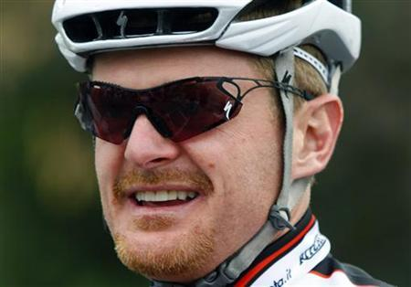 U.S. cyclist Floyd Landis waits before heading out on a training ride with his new team in Temecula, California ,in this January 25, 2009 file photo. REUTERS/Mike Blake/Files