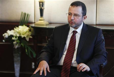 Egypt's Prime Minister Hisham Kandil talks during an interview with Reuters in Cairo September 9, 2012. REUTERS/Asmaa Waguih