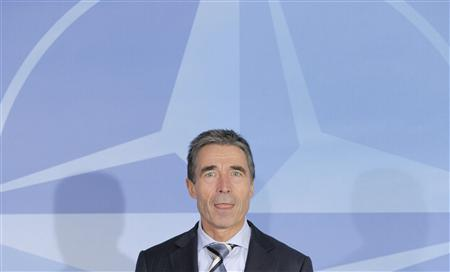 NATO Secretary-General Anders Fogh Rasmussen holds a news conference at the Alliance headquarters in Brussels October 3, 2012. REUTERS/Laurent Dubrule
