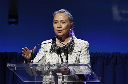 U.S. Secretary of State, Hillary Clinton, addresses an event to discuss leveraging AIDS response during the 67th United Nations General Assembly at the U.N. Headquarters in New York, September 26, 2012. REUTERS/Lucas Jackson