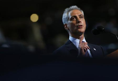 Chicago Mayor and former Obama administration official Rahm Emanuel addresses the first session of the Democratic National Convention in Charlotte, North Carolina, September 4, 2012. REUTERS/Eric Thayer