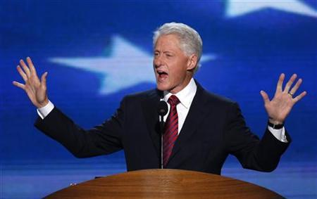 Former President Bill Clinton addresses delegates during the second session of the Democratic National Convention in Charlotte, North Carolina, September 5, 2012. REUTERS/Jason Reed