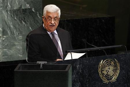 Palestinian President Mahmoud Abbas addresses the 67th United Nations General Assembly at the U.N. Headquarters in New York, September 27, 2012. REUTERS/Keith Bedford