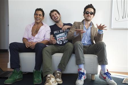 The founders of the website Rap Genius (L to R) Mahbod Moghadam, Ilan Zechory and Tom Lehman pose in this handout photo taken April 2, 2012 and released to Reuters October 3, 2012. The venture capital firm of Andreessen Horowitz announced Wednesday a $15 million investment in Rap Genius, a website using crowdsourcing to dig into and explain arcane details of rap lyrics. REUTERS/Mark Ostow/Handout