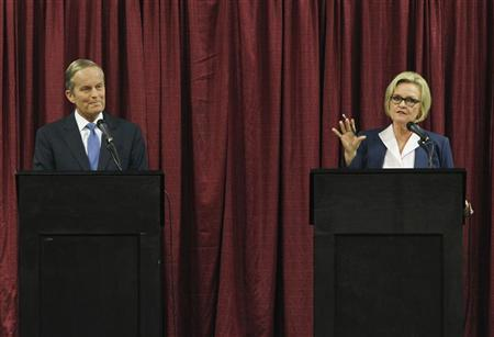 U.S. Senate candidates for Missouri Todd Akin (R) and Senator Claire McCaskill debate in Columbia, Missouri, September 21, 2012. REUTERS/Sarah Conard