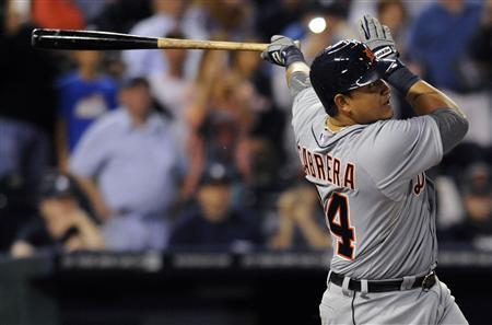 Detroit Tigers' Miguel Cabrera fouls out on his first at-bat against the Kansas City Royals in the first inning in their MLB American League baseball game in Kansas City, Missouri October 3, 2012. REUTERS/Dave Kaup