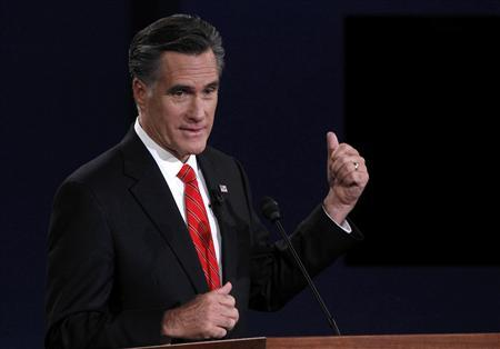 Republican presidential nominee Mitt Romney speaks during the first presidential debate with President Barack Obama (not pictured) in Denver October 3, 2012. REUTERS/Jason Reed