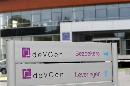 A sign is seen at the Devgen headquarters in Ghent September 21, 2012. REUTERS/Laurent Dubrule