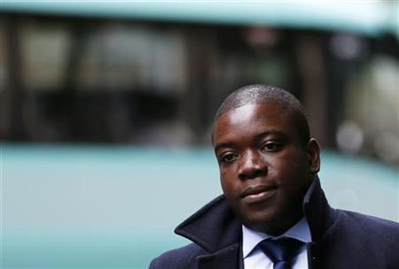 Former UBS trader Kweku Adoboli arrives at Southwark Crown Court in London September 27, 2012. Adoboli is on trial accused of fraud and false accounting that cost the Swiss bank $2.3 billion. He has pleaded not guilty.. REUTERS/Stefan Wermuth
