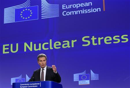European Energy Commissioner Gunther Oettinger speaks at a news conference on the EU Nuclear Stress Tests in Brussels October 4, 2012. REUTERS/Yves Herman