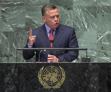 Jordan's King Abdullah II Bin Al Hussein addresses the 67th session of the United Nations General Assembly at UN headquarters in New York, September 25, 2012. REUTERS/Ray Stubblebine