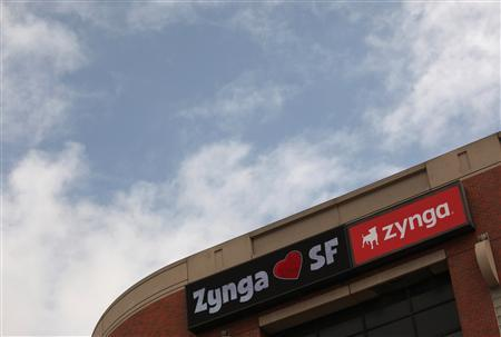 The corporate logo of Zynga Inc, the social network game development company, is shown at its headquarters in San Francisco, California in this file photo taken April 26, 2012. REUTERS/Robert Galbraith/Files
