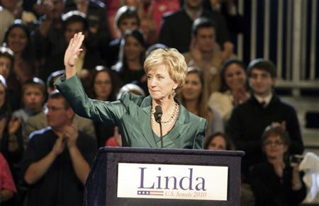 U.S. Senate Republican candidate Linda McMahon of Connecticut delivers her concession speech after Democratic state attorney general Richard Blumenthal defeated her, during her election night rally in Hartford, Connecticut, November 2, 2010. REUTERS/Michelle McLoughlin