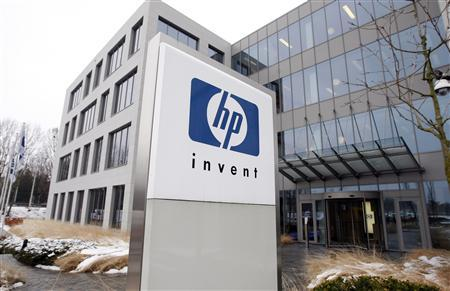 HP's logo is seen outside the Hewlett-Packard Belgian headquarters in Diegem, near Brussels, in this January 12, 2010 file photo. REUTERS/Thierry Roge/Files