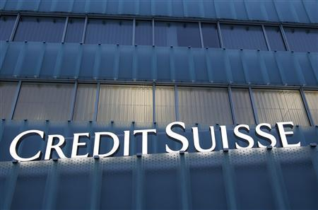 A Credit Suisse logo is seen on a Credit Suisse office building in Guemligen near Bern in this February 8, 2012 file photograph. REUTERS/Pascal Lauener/Files