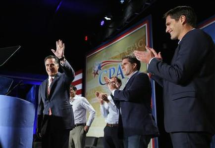 Republican presidential nominee Mitt Romney takes the stage with his sons (L-R) Matt, Craig, Tagg and Josh to address the Colorado Conservative Political Action Committee (CPAC) meeting in Denver, Colorado October 4, 2012. REUTERS/Brian Snyder