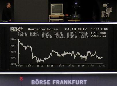 A man walks on the balcony above the DAX board at the Frankfurt stock exchange October 4, 2012. REUTERS/Remote/Lizza David