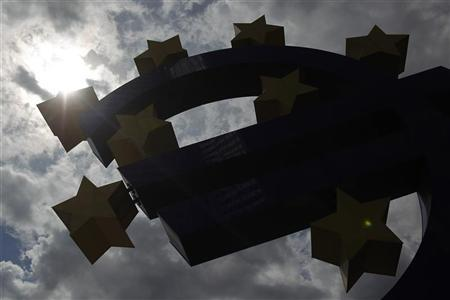 A silhouette of a structure showing the Euro currency sign is seen in front of the European Central Bank (ECB) headquarters in Frankfurt August 2, 2012. REUTERS/Alex Domanski