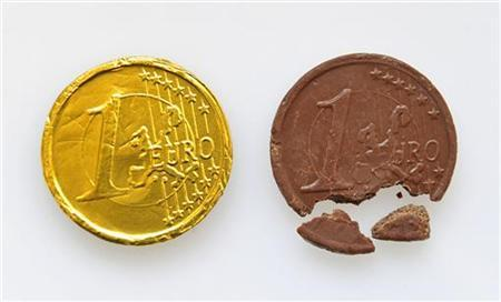One Euro coins made of chocolate is displayed in this photo illustration taken in Ljubljana September 11, 2012. REUTERS/Srdjan Zivulovic