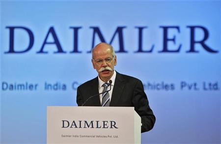 Daimler AG Chairman Dieter Zetsche addresses a gathering during the opening ceremony of the company's new factory unit in Oragadam in the Kancheepuram district of the southern Indian state of Tamil Nadu April 18, 2012. REUTERS/Babu