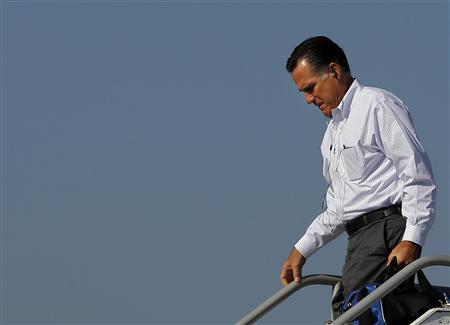 Republican presidential nominee Mitt Romney gets off his campaign plane in Blountville, Tennessee October 5, 2012. REUTERS/Brian Snyder