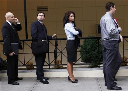 People wait in line to enter a job fair in New York August 15, 2011. REUTERS/Shannon Stapleton