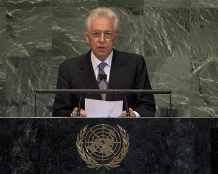 Prime Minister of Italy Mario Monti addresses the 67th session of the United Nations General Assembly at U.N. headquarters in New York, September 26, 2012. REUTERS/Ray Stubblebine