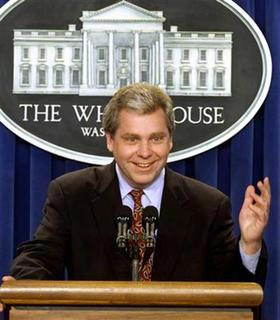 Former White House Press Secretary Joe Lockhart answers reporters questions during his last press breifing in the White House Brady Press Briefing Room in Washington in this file photo taken September 29, 2000. WP/RCS