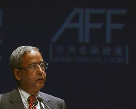 Upendra Kumar Sinha, Chairman of the Securities and Exchange Board of India, speaks during the Asian Financial Forum in Hong Kong January 16, 2012. REUTERS/Bobby Yip