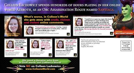A mailer distributed by the Republican party which attacks Democratic state senate candidate Colleen Lachowicz for playing online games is seen in this handout image obtained by Reuters October 5, 2012. REUTERS/Handout