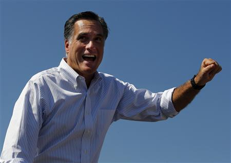 Republican presidential nominee Mitt Romney waves to the crowd at a campaign rally in Abingdon, Virginia October 5, 2012. REUTERS/Brian Snyder
