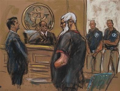 Islamist cleric Abu Hamza al-Masri is seen in this courtroom sketch during a court appearance in Manhattan Federal Court in New York October 6, 2012. Abu Hamza appeared before a federal judge in New York on Saturday after Britain extradited the one-eyed radical preacher to the United States to face trial on terrorism charges. REUTERS/Jane Rosenberg