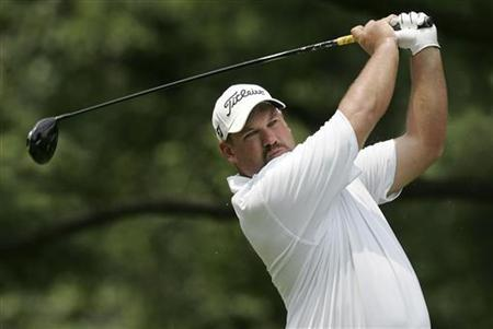 Brendon de Jonge of Zimbabwe plays his shot from the third tee during the final round of the AT&T National PGA Tour golf tournament in Bethesda, Maryland, July 1, 2012. REUTERS/Jonathan Ernst