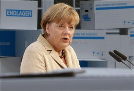 German Chancellor Angela Merkel speaks during the Alfred Herrhausen Conference at the Deutsche Bank building in Berlin, September 28, 2012. REUTERS/Thomas Peter