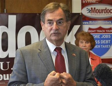 "Indiana Republican U.S. Senate candidate Richard Mourdock, speaks with volunteers at the Republican ""Victory Center"" in Jeffersonville, Indiana October 3, 2012. Indiana Republicans last spring spurned long-time Senator Richard Lugar for a more conservative candidate, but now supporters of the soft-spoken moderate may tip the balance in the race that could determine which party controls the U.S. Senate. Picture taken October 3, 2012. REUTERS/Nick Carey"