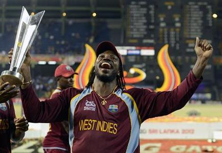 West Indies' Chris Gayle celebrates with the trophy after the West Indies defeated Sri Lanka in their World Twenty20 final cricket match at R Premadasa stadium in Colombo October 7, 2012. REUTERS/Philip Brown