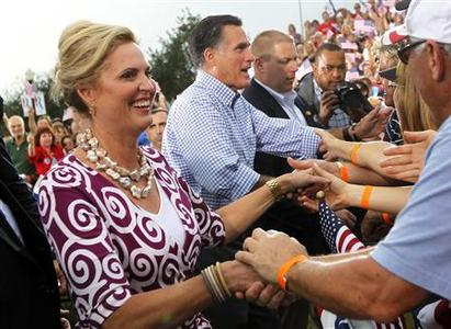 Republican presidential nominee Mitt Romney and his wife Ann shake hands with supporters after a campaign rally in Port St. Lucie, Florida October 7, 2012. REUTERS/Shannon Stapleton