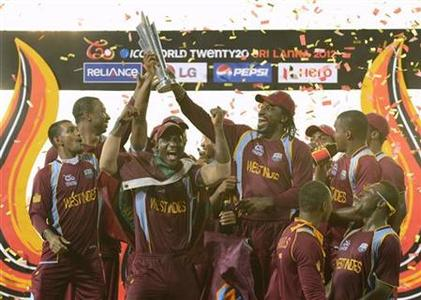 The West Indies team celebrates after defeating Sri Lanka in the world Twenty20 final cricket match at R Premadasa Stadium, Colombo October 7, 2012. REUTERS/Philip Brown