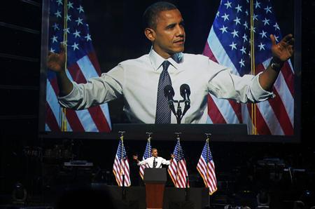 President Barack Obama speaks at a campaign event at the Nokia Theater in Los Angeles October 7, 2012. REUTERS/Larry Downing