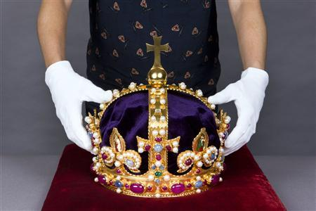 A re-creation of Henry VIII's Imperial Crown is seen in this undated handout picture released in London October 8, 2012. REUTERS/Handout/Robin Forster/Historic Royal Palaces