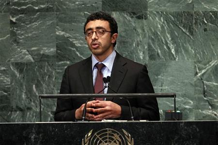 United Arab Emirates' Foreign Minister Sheikh Abdullah Bin Zayed Al Nahyan, addresses the 67th session of the United Nations General Assembly at U.N. headquarters in New York, September 28, 2012. REUTERS/Keith Bedford