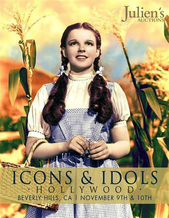 Judy Garland is seen in movie classic ''The Wizard of Oz'' on the cover of a catalogue from Julien's Auctions received by Reuters October 8, 2012. The blue-and-white dress which Garland wore throughout the 1939 film will be sold next month at Julien's Auctions in Beverly Hills, where it is expected to sell for more than a half a million dollars, auctioneers said on Monday. REUTER/Julien's Auctions/Handout