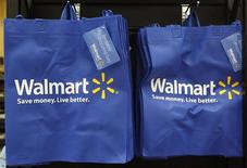 Re-useable Walmart bags are seen in a newly opened Walmart Neighborhood Market in Chicago in this file photo taken September 21, 2011. REUTERS/Jim Young/Files