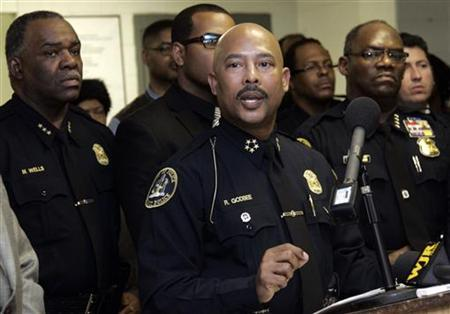 Detroit Police Chief Ralph Godbee during a press conference at the Northeastern District police station in Detroit, Michigan, in this file photo January 6, 2012. REUTERS/Rebecca Cook