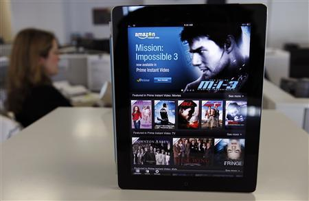 The Amazon streaming video app for Apple's iPad is seen in Los Angeles in this August 1, 2012 file photograph. REUTERS/Sam Mircovich/Files